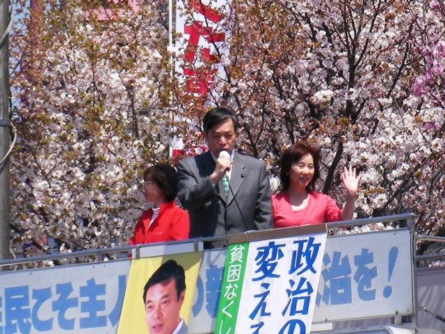 桜をバックに街頭演説