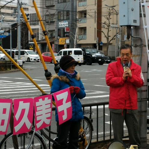 下京区で告示前最後の訴えをしました。